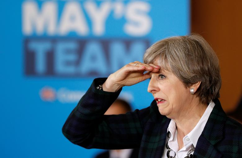 Britain's Prime Minister Theresa May attends a campaign event in Nottingham, May 10, 2017. REUTERS/Darren Staples