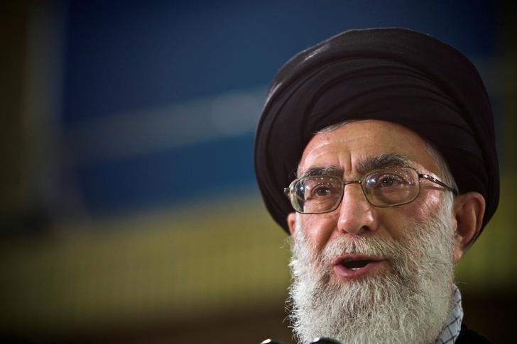 FILE PHOTO: Iran's Supreme Leader Ayatollah Ali Khamenei speaks live on television after casting his ballot in the Iranian presidential election in Tehran June 12, 2009. REUTERS/Caren Firouz/File Photo