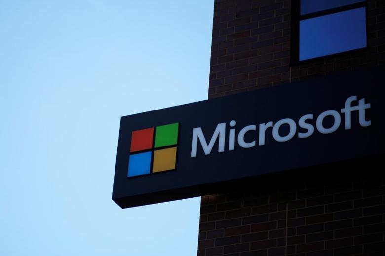 A sign marks the Microsoft office in Cambridge, Massachusetts, U.S. January 25, 2017.   REUTERS/Brian Snyder