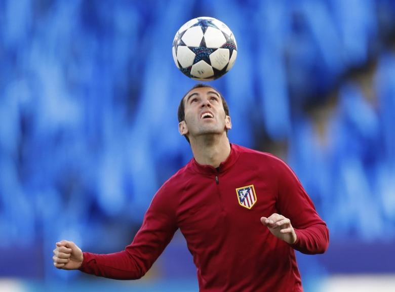 Britain Football Soccer - Atletico Madrid Training  - King Power Stadium, Leicester, England - 17/4/17 Atletico Madrid's Diego Godin during training Action Images via Reuters / Carl Recine Livepic