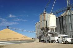 Caminhão é carregado com soja em elevador de grãos perto de New Richland, no Minnesota, EUA 14/10/2015 REUTERS/Karl Plume/File Photo