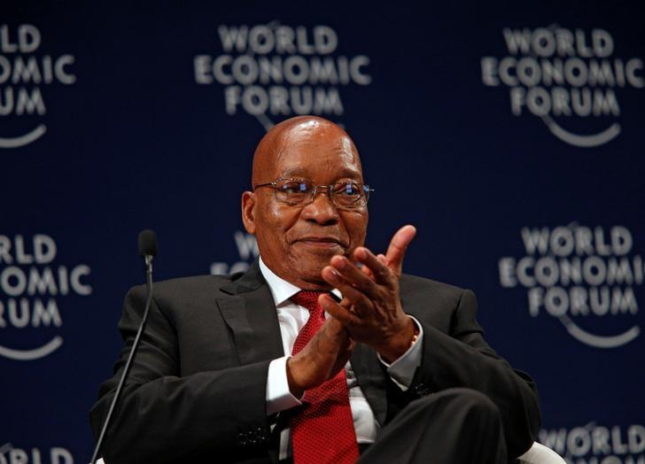 South African President Jacob Zuma reacts while participating in a discussion at the World Economic Forum on Africa 2017 meeting in Durban, South Africa May 4, 2017. REUTERS/Rogan Ward/Files