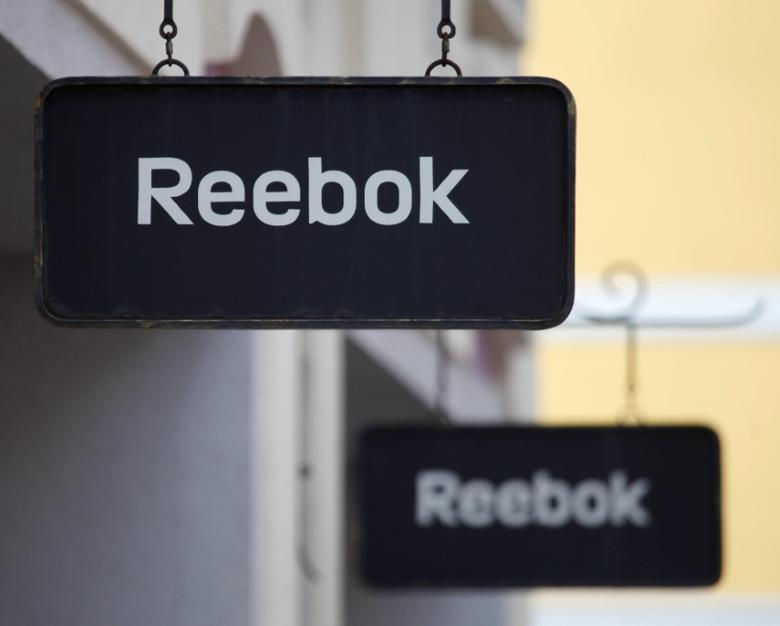 Boards with Reebok store logo are seen on a shopping center at the outlet village Belaya Dacha outside Moscow, Russia, April 23, 2016.  REUTERS/Grigory Dukor
