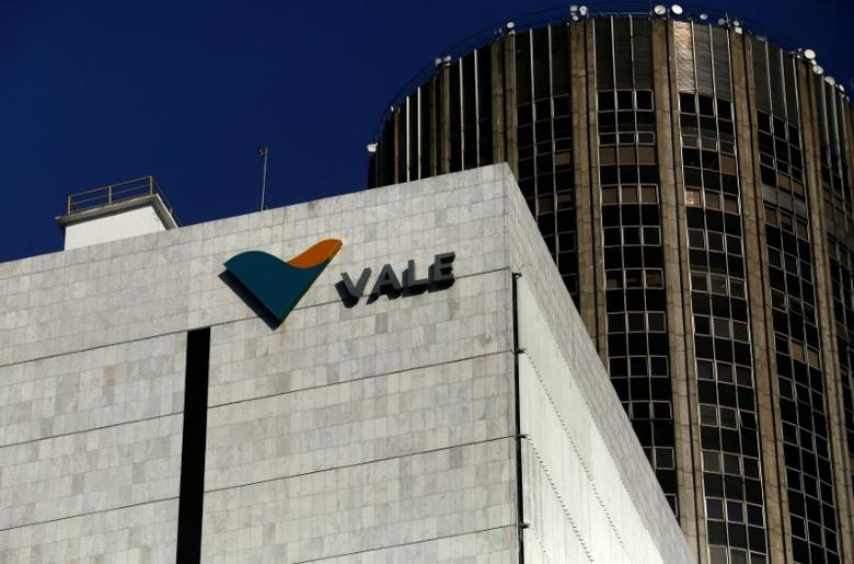 FILE PHOTO: A view shows the company logo of Brazilian mining company Vale SA at its headquarters in downtown Rio de Janeiro August 20, 2014. REUTERS/Pilar Olivares/File Photo