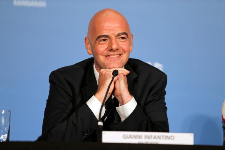 FIFA President Gianni Infantino smiles as he takes questions from journalists at press conference after the 67th FIFA Congress in Manama, Bahrain May 11, 2017. REUTERS/Hamad I Mohammed