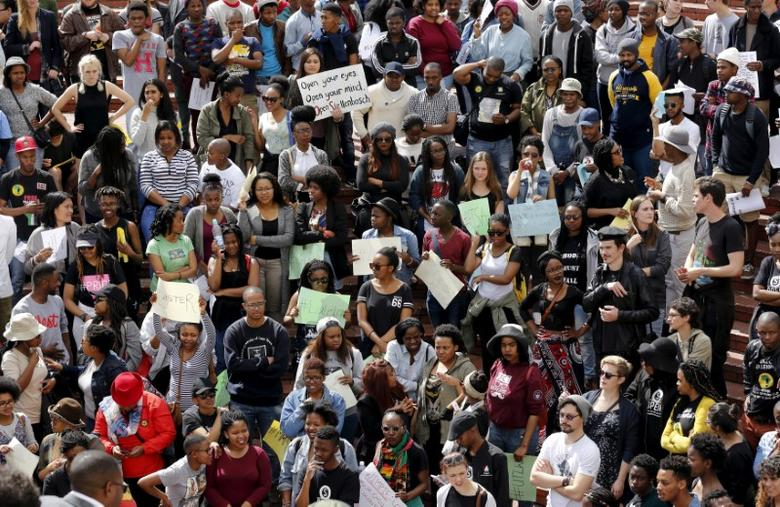 FILE PHOTO: Students take part in a protest at South Africa's Stellenbosch University in Stellenbosch, September 1, 2015. REUTERS/Mike Hutchings/File Photo
