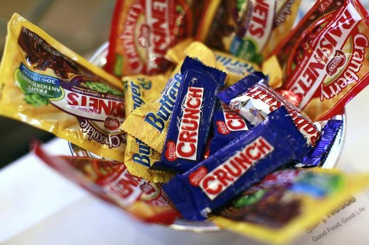 FILE PHOTO - Nestle candy products are displayed the company's news conference in New York October 22, 2010. REUTERS/Brendan McDermid
