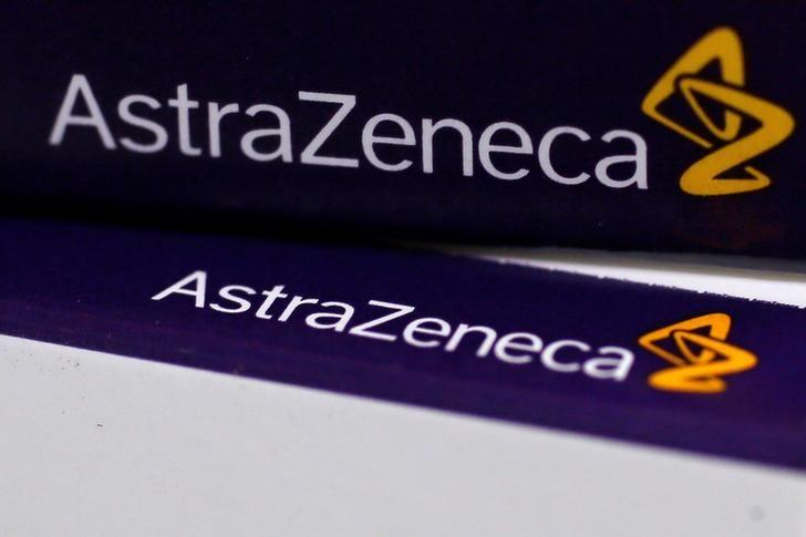The logo of AstraZeneca is seen on medication packages in a pharmacy in London April 28, 2014. REUTERS/Stefan Wermuth/Files