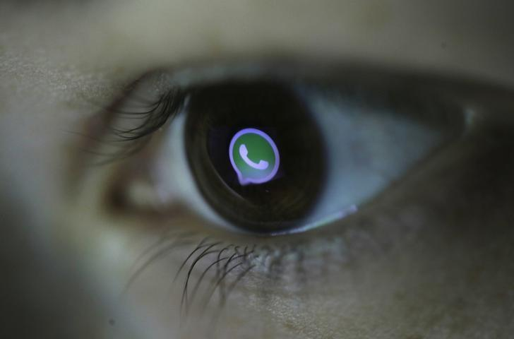 A picture illustration shows Whatsapp's logo reflected in a person's eye, in central Bosnian town of Zenica, March 13, 2015. Picture taken March 13, 2015. REUTERS/Dado Ruvic
