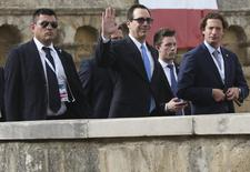 U.S. Secretary of the Treasury Steven Mnuchin waves during the G7 for Financial ministers meeting in the southern Italian city of Bari, Italy May 12, 2017. REUTERS/Alessandro Bianchi