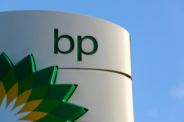 FILE PHOTO: A BP logo is seen at a petrol station in London, Britain, January 15, 2015.   REUTERS/Luke MacGregor/File Photo
