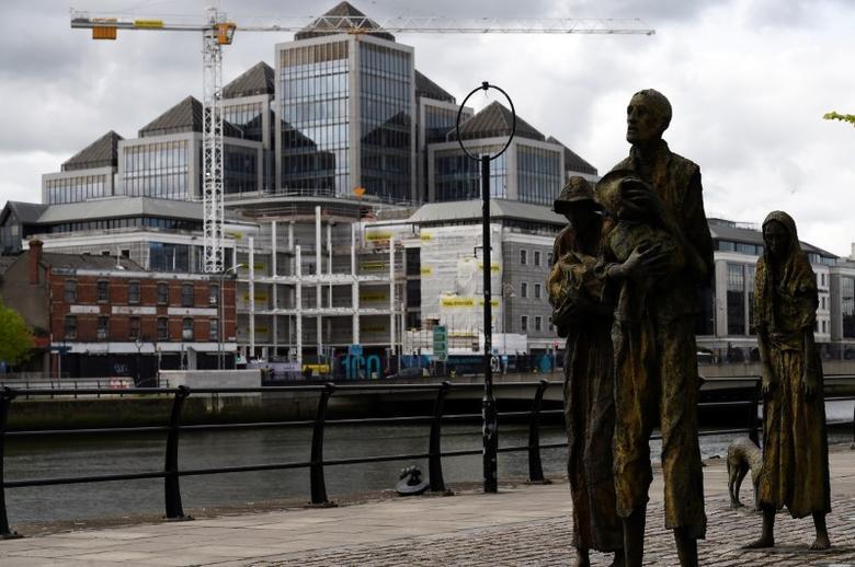 Statues depicting the Irish famine are seen in the Irish Financial Services Centre in Dublin, Ireland April 24, 2017. REUTERS/Clodagh Kilcoyne