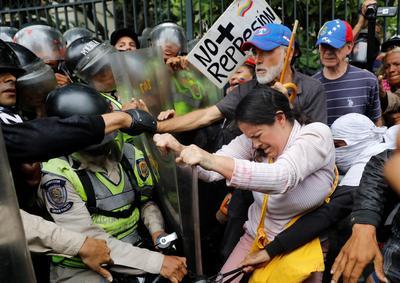 Venezuela's elders throw punches at police