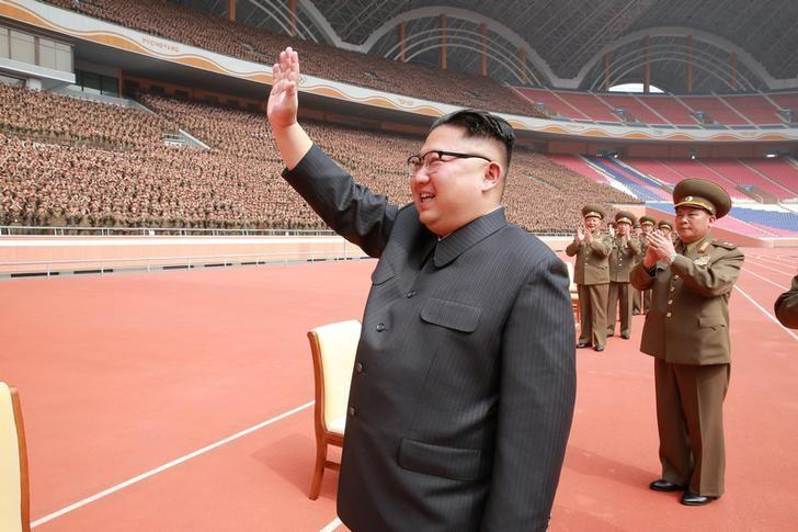North Korean leader Kim Jong Un waves to the members of the Korean People's Army in this undated photo released by North Korea's Korean Central News Agency (KCNA) May 13, 2017. KCNA/via REUTERS