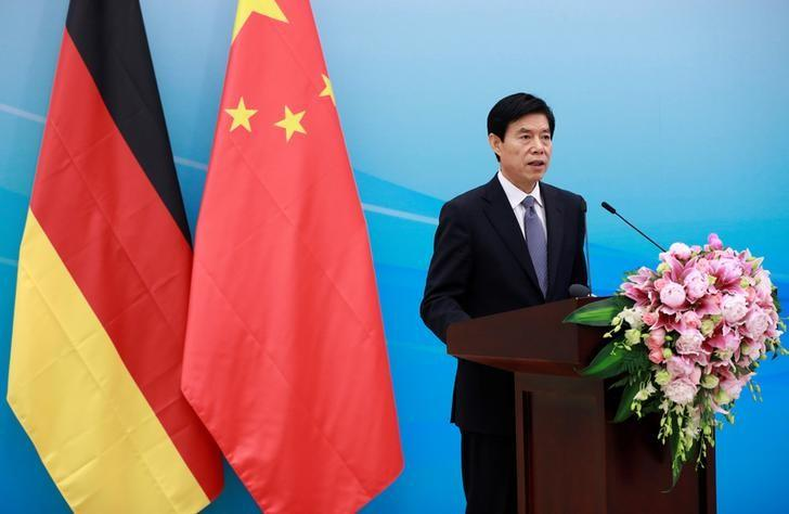 Chinese Commerce Minister Zhong Shan delivers his speech during the opening ceremony for the Sino-German Center for Sustainable Development at the Ministry of Commerce in Beijing, China, May 11, 2017. REUTERS/How Hwee Young/Pool