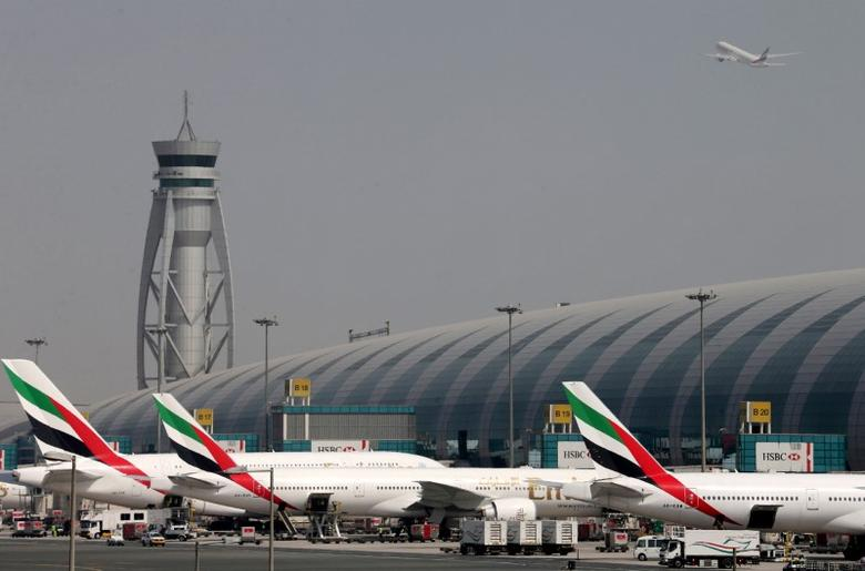 FILE PHOTO: Emirates Airlines aircrafts are seen at Dubai International Airport, United Arab Emirates May 10, 2016. REUTERS/Ashraf Mohammad/File photo