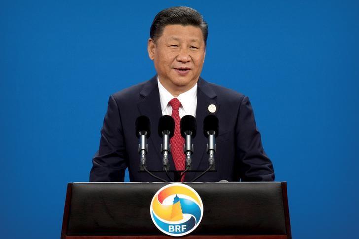 """2017年5月14日,北京国家会议中心,中国国家主席习近平在""""一带一路""""国际合作高峰论坛开幕式上做主旨演讲。REUTERS/Mark Schiefelbein"""