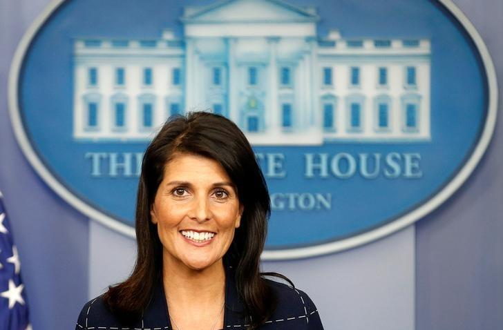 U.S. Ambassador to the United Nations Nikki Haley speaks during a press briefing at the White House in Washington, U.S., April 24, 2017.      REUTERS/Joshua Roberts/Files