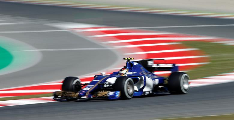 Sauber's Pascal Wehrlein in action during the first free practice. REUTERS/Albert Gea