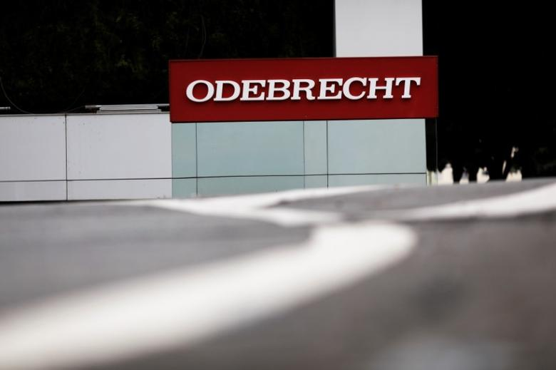 The corporate logo of the Odebrecht SA construction conglomerate is pictured at its headquarters in Sao Paulo, Brazil, April 17, 2017. REUTERS/Nacho Doce - RTS12P0M
