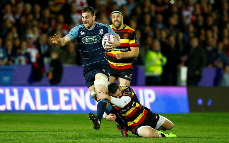 FILE PHOTO: Britain Rugby Union - Gloucester Rugby v Cardiff Blues - European Rugby Challenge Cup Quarter Final - Kingsholm - 1/4/17. Gloucester Rugby's Jonny May in action against Cardiff Blues' Sam Warburton (L).   Action Images via Reuters/Peter Cziborra/Livepic/File Photo