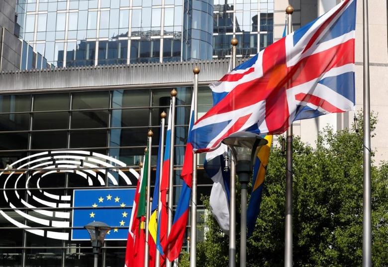 FILE PHOTO: A British flag flies at the entrance of the European Parliament in Brussels, Belgium, March 28, 2017. REUTERS/Yves Herman