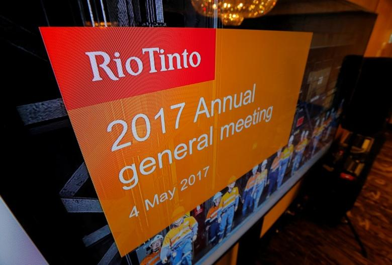 The Rio Tinto's company logo is featured on a TV monitor at the mining company' annual general meeting in Sydney, Australia, May 4, 2017. REUTERS/Jason Reed