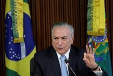 Presidente Michel Temer em reunião no Palácio do Planalto, em Brasília.  11/04/2017 REUTERS/Ueslei Marcelino