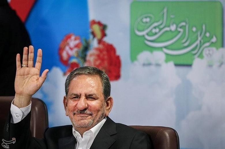 Eshaq Jahangiri gestures in this undated handout photo provided by Tasnim News Agency on May 9, 2017. Tasnim News Agency/Handout via REUTERS