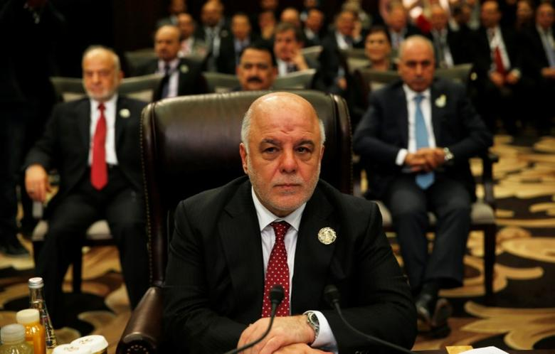 Iraq's Prime Minister Haider al-Abadi attends the 28th Ordinary Summit of the Arab League at the Dead Sea, Jordan March 29, 2017. REUTERS/Mohammad Hamed