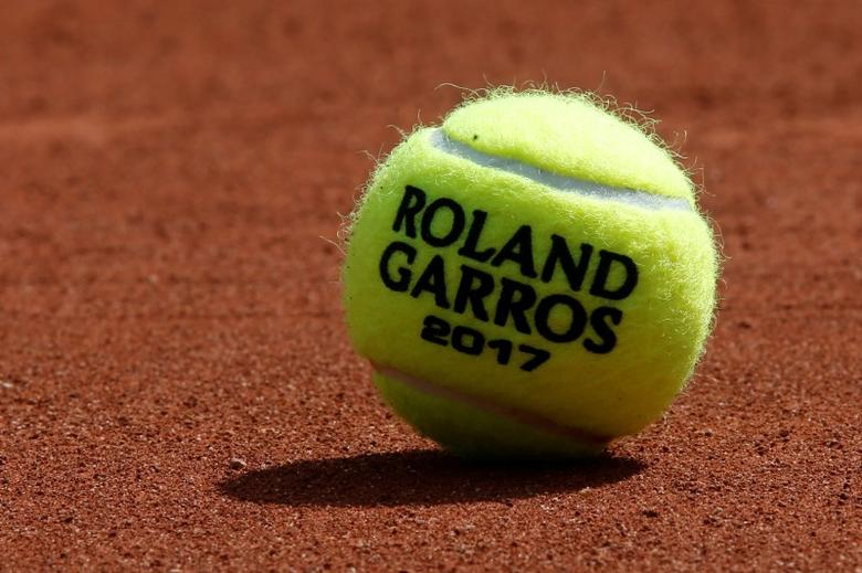 A Roland Garros 2017 tennis ball is seen at the Stade Roland Garros tennis venue complex, where the French Open is held, during a visit by the the International Olympic Committee Evaluation Commission, in Paris, France, May 15, 2017. REUTERS/Gonzalo Fuentes