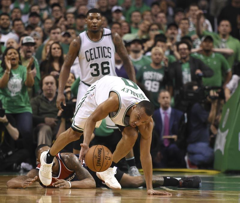 May 15, 2017; Boston, MA, USA; Boston Celtics guard Avery Bradley (0) picks  up a loose ball during the second half in game seven of the second round of  the ...