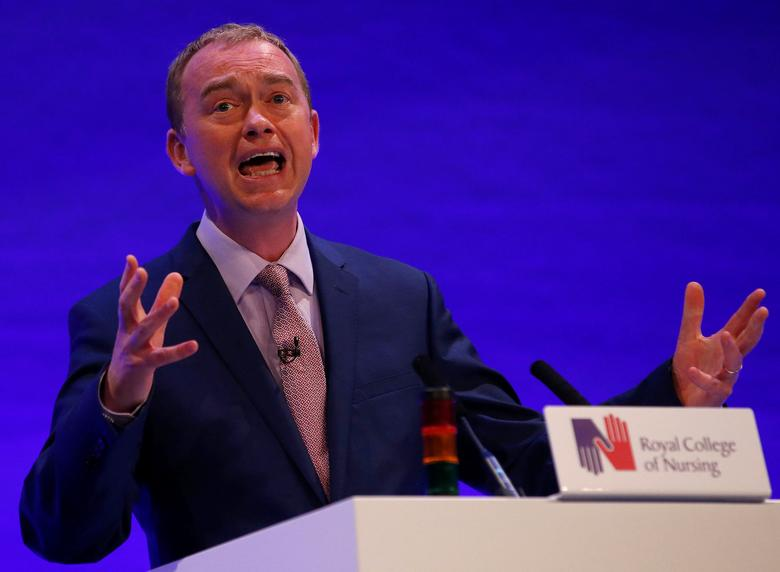 Tim Farron, leader of Britain's Liberal Democrat Party, speaks to members of the Royal College of Nursing in Liverpool, May 15, 2017. REUTERS/Andrew Yates