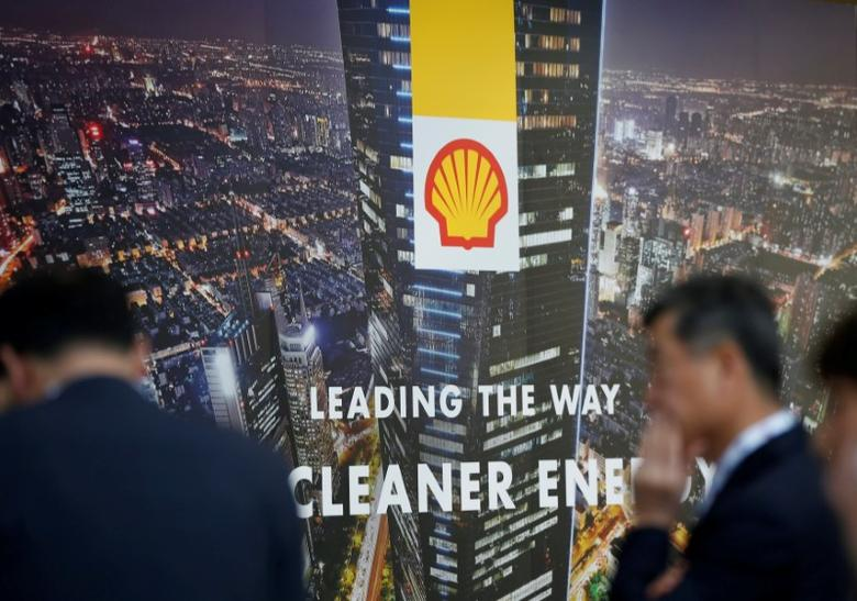 FILE PHOTO: A logo of Royal Dutch Shell is seen at Gastech, the world's biggest expo for the gas industry, in Chiba, Japan, April 4, 2017.    REUTERS/Toru Hanai/File Photo