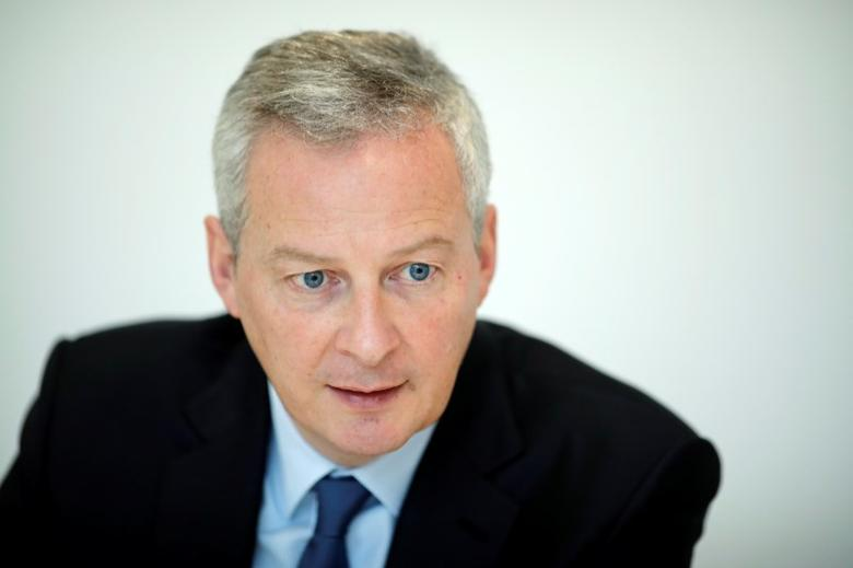 FILE PHOTO - Bruno Le Maire speaks during an interview February 16, 2017 with Reuters in Paris, France. Bruno Le Maire is named French Finance Minister in Paris, France, May 17, 2017. REUTERS/Benoit Tessier/File Photo