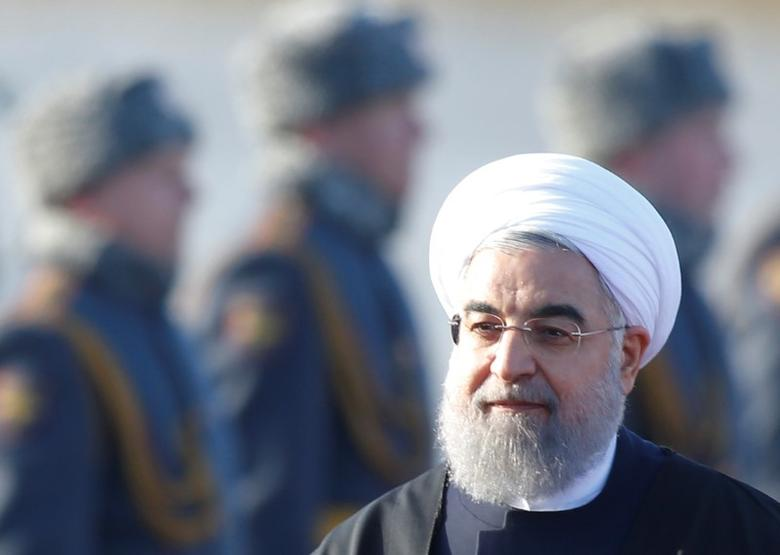 FILE PHOTO: Iranian President Hassan Rouhani inspects the honour guard during a welcoming ceremony upon his arrival at Vnukovo International Airport in Moscow, Russia March 27, 2017. REUTERS/Maxim Shemetov/Files