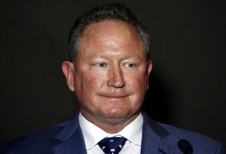 FILE PHOTO - Andrew Forrest reacts as he listens to a question during a media conference in Sydney, Australia, July 28, 2015. REUTERS/David Gray/File Photo