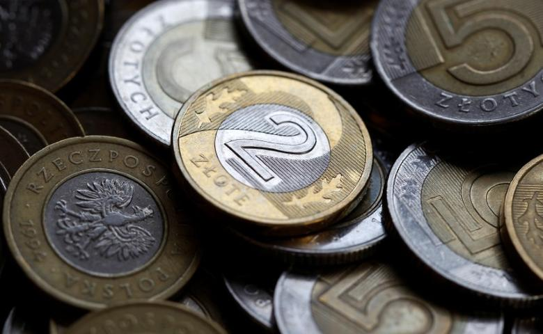 Polish currency zloty coins are seen in this photo illustration taken in Warsaw, Poland, September 29, 2012. REUTERS/Peter Andrews/File Photo