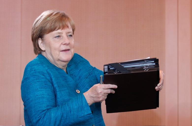 German Chancellor Angela Merkel attends the weekly cabinet meeting at the Chancellery in Berlin, Germany, May 17, 2017. REUTERS/Hannibal Hanschke