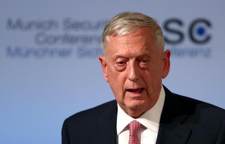 FILE PHOTO - U.S. Defense Secretary Jim Mattis speaks at the opening of the 53rd Munich Security Conference in Munich, Germany, February 17, 2017.  REUTERS/Michael Dalder
