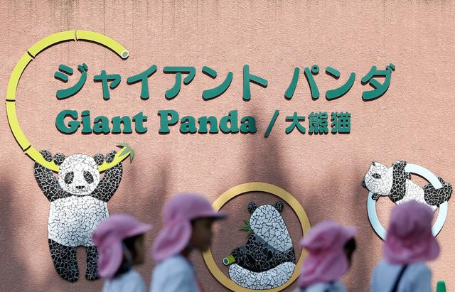 Kindergarten children walk in front of a giant panda house at Ueno Zoological Park in Tokyo, Japan May 19, 2017. REUTERS/Issei Kato