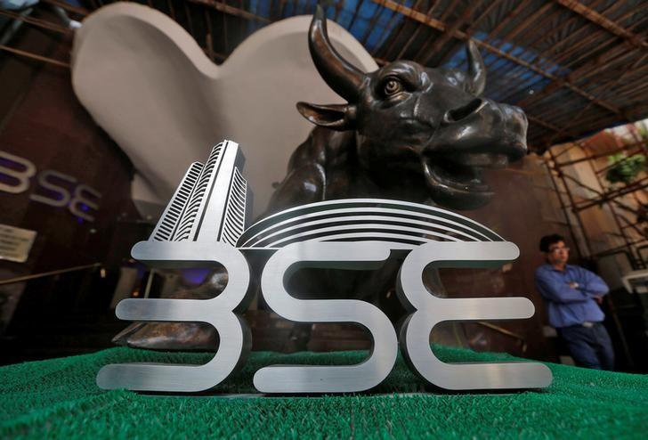 The Bombay Stock Exchange (BSE) logo is seen at the BSE building in Mumbai,  January 25, 2017. REUTERS/Shailesh Andrade/Files
