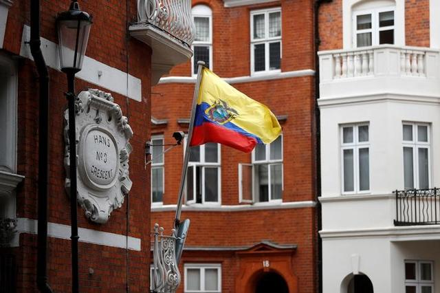 The flag of Ecuador flies outside the Ecuadorian embassy where WikiLeaks founder Julian Assange is taking refuge, in London, Britain, May 19, 2017. REUTERS/Peter Nicholls