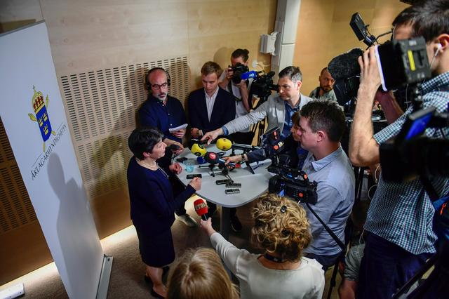 Chief prosecutor Marianne Ny (L) attends a press conference in Stockholm, Sweden May 19, 2017. TT News Agency/Maja Suslin via REUTERS