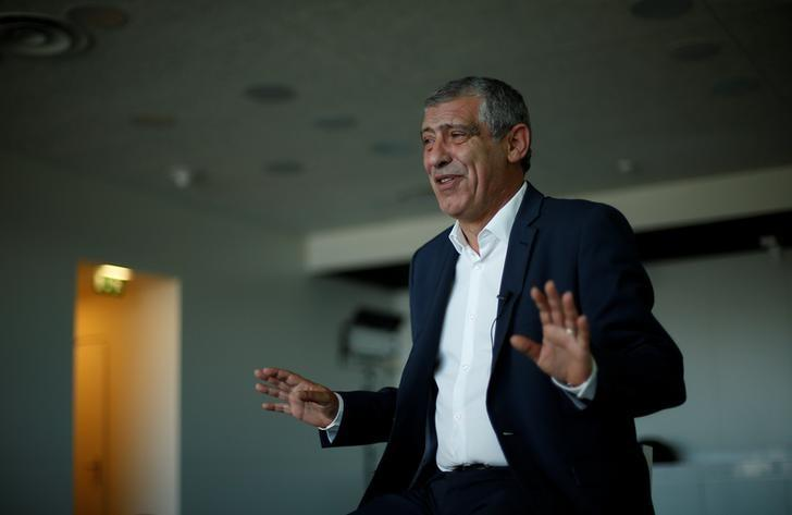 Portuguese soccer team coach Fernando Santos speaks during an interview with Reuters in Oeiras, Portugal May 18, 2017. Picture taken May 18, 2017. REUTERS/Rafael Marchante