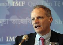 Chefe do Departamento de Hemisfério Ocidental do Fundo Monetário Internacional (FMI), Alejandro Werner, durante coletiva de imprensa em Montevidéu. 06/05/2013 REUTERS/Andres Stapff