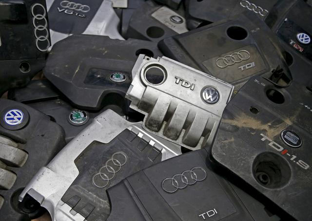 FILE PHOTO: Covers for TDI diesel Volkswagen, Audi, SEAT and Skoda engines are seen in Jelah, Bosnia and Herzegovina, in this September 29, 2015 picture illustration.  REUTERS/Dado Ruvic/File Photo