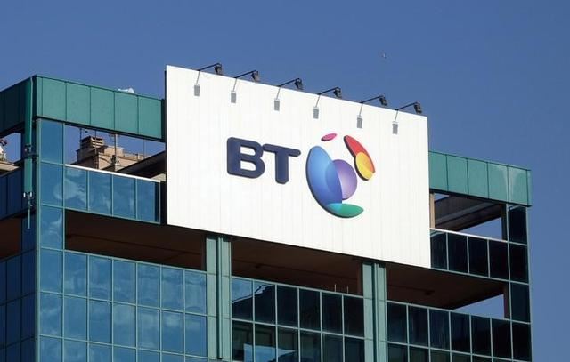 FILE PHOTO: The logo of BT is seen outside the headquarters in Milan, Italy January 24, 2017.  REUTERS/Stefano Rellandini/File Photo