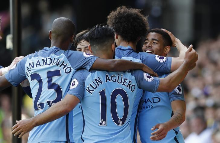 Britain Football Soccer - Watford v Manchester City - Premier League - Vicarage Road - 21/5/17 Manchester City's Gabriel Jesus celebrates scoring their fifth goal with team mates Reuters / Stefan Wermuth Livepic