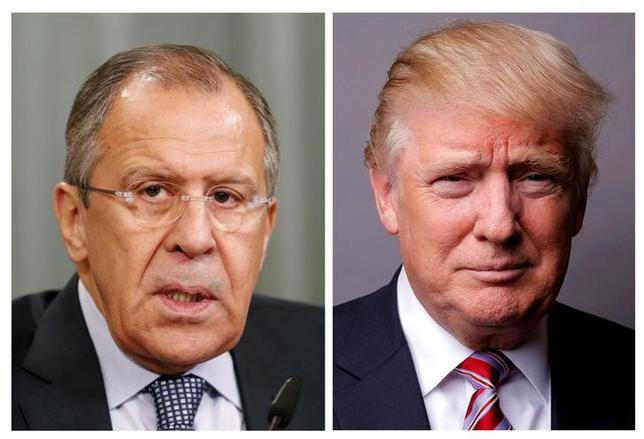 5月20日、ロシアのラブロフ外相(左)は、コミー前米連邦捜査局(FBI)長官の解任についてトランプ大統領(右)と一切話はしていないと述べた。左写真はモスクワで2015年11月撮影、右はニューヨークで2016年5月撮影(2017年 ロイター/Maxim Zmeyev/Lucas Jackson)